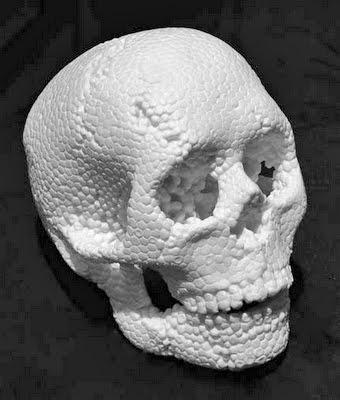 marble skull made to look like styrofoam