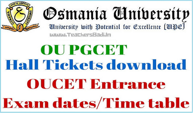OU PGCET 2018 Hall Tickets| OUCET Hall Tickets @oucet.ouadmissions.com