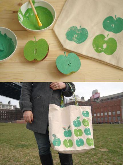 Estampar tejidos con una manzana