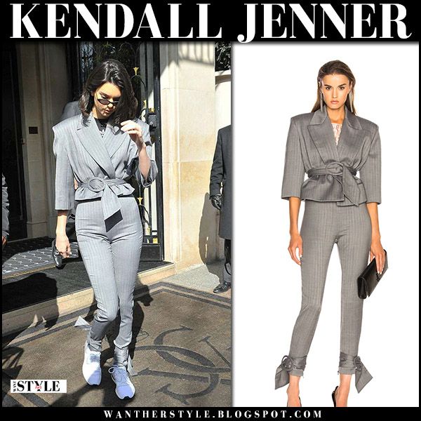 Kendall Jenner in grey cropped belted jacket and skinny grey pants carmen march model street fashion april 5