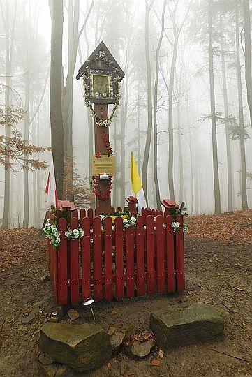 Kapliczka przy szlaku na Jaroszowickiej Górze.