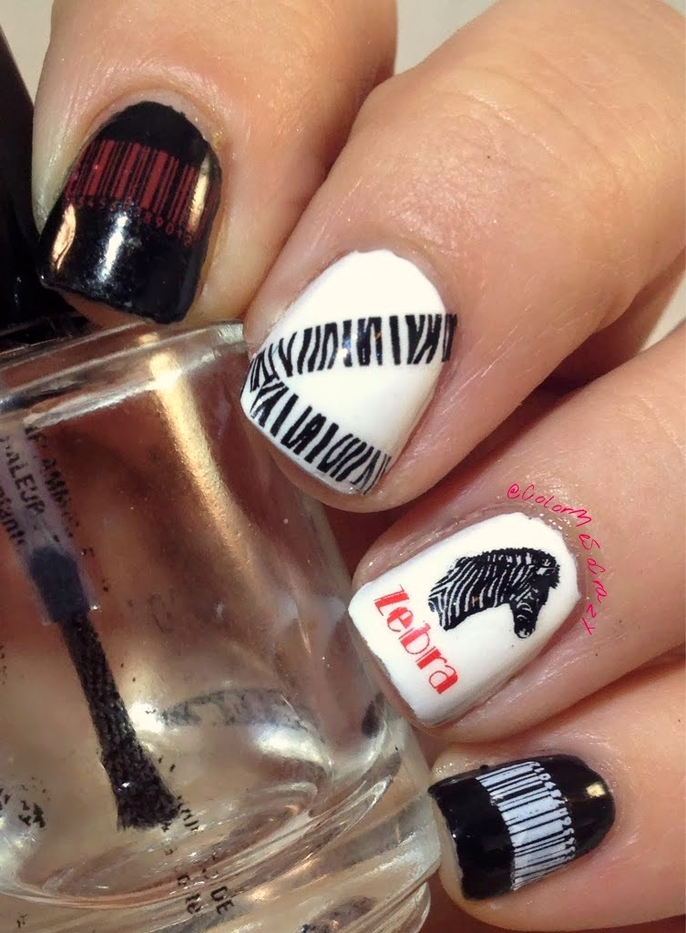 N.NAIL Zoo Zebra Pattern Barcode Number Nail Water Decals