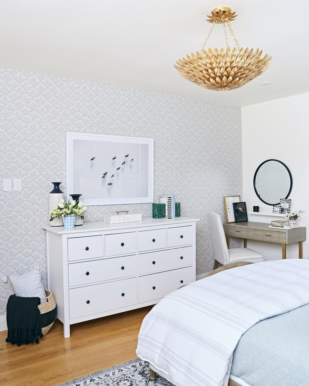calm neutral master bedroom, Rambling Renovators, Gray Malin The Match, round mirror, Bellacor shagreen vanity