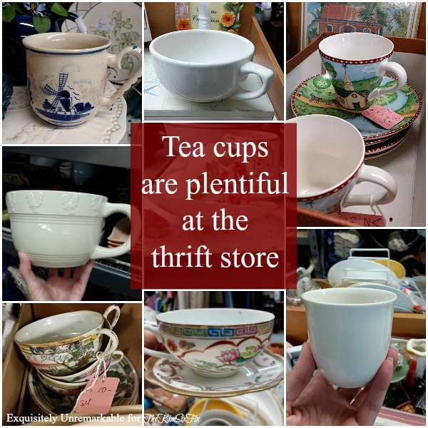Different Styles Of Thrift Store Tea Cups