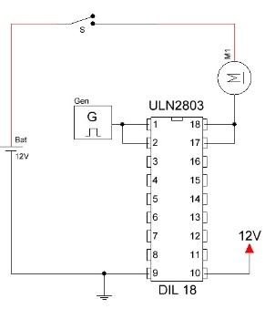 Circuito integrado ULN2803 aumento de corriente.