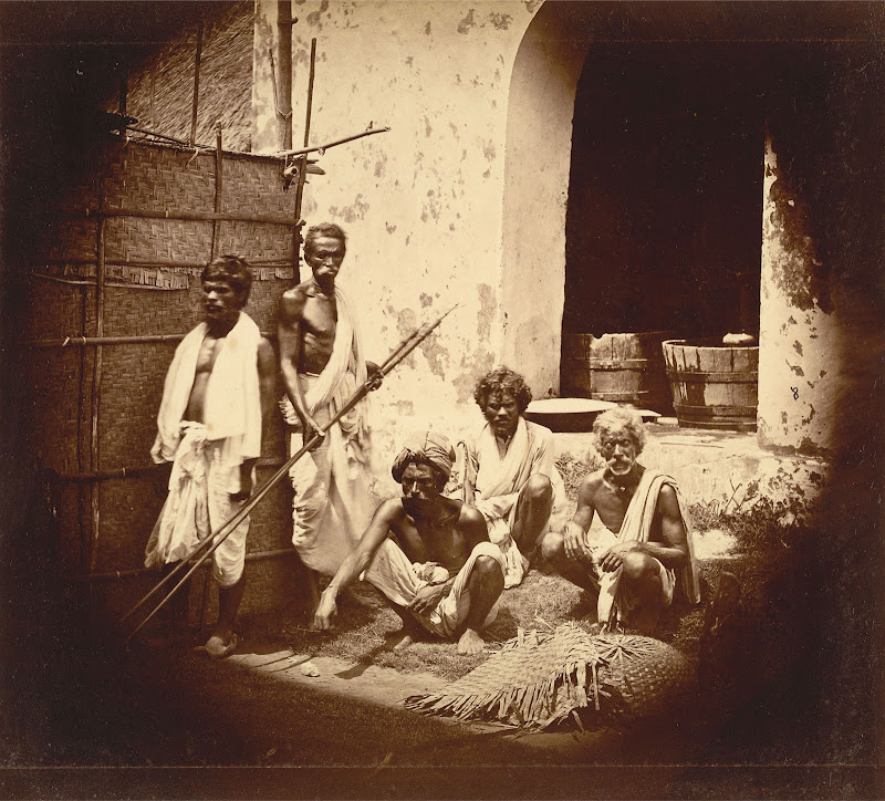 Group of Five Men in front of a Building - Eastern Bengal 1860's