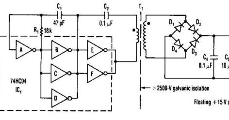 Isolated 15V To 2500V Power Supply Wiring diagram