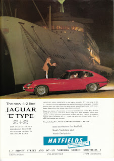 Jaguar E-Type advert by Hatfields in the Sheffield Spectator Nov 1966