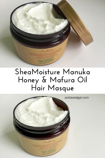 A review of SheaMoisture Community Commerce Manuka Honey & Mafura Oil Intensive Hydration Masque on relaxed hair. | arelaxedgal.com