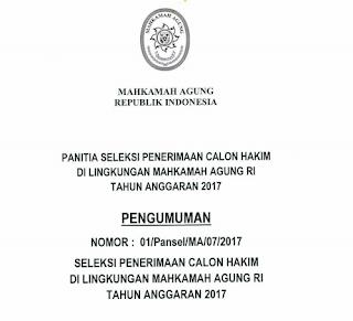Lowongan Kerja CPNS Terbaru Mahkamah Agung Republik Indonesia Tahun 2017