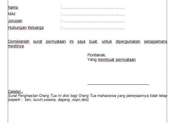 Surat Pernyataan Keterangan Penghasilan orang Tua (Contoh ...