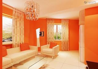 decoración sala naranja
