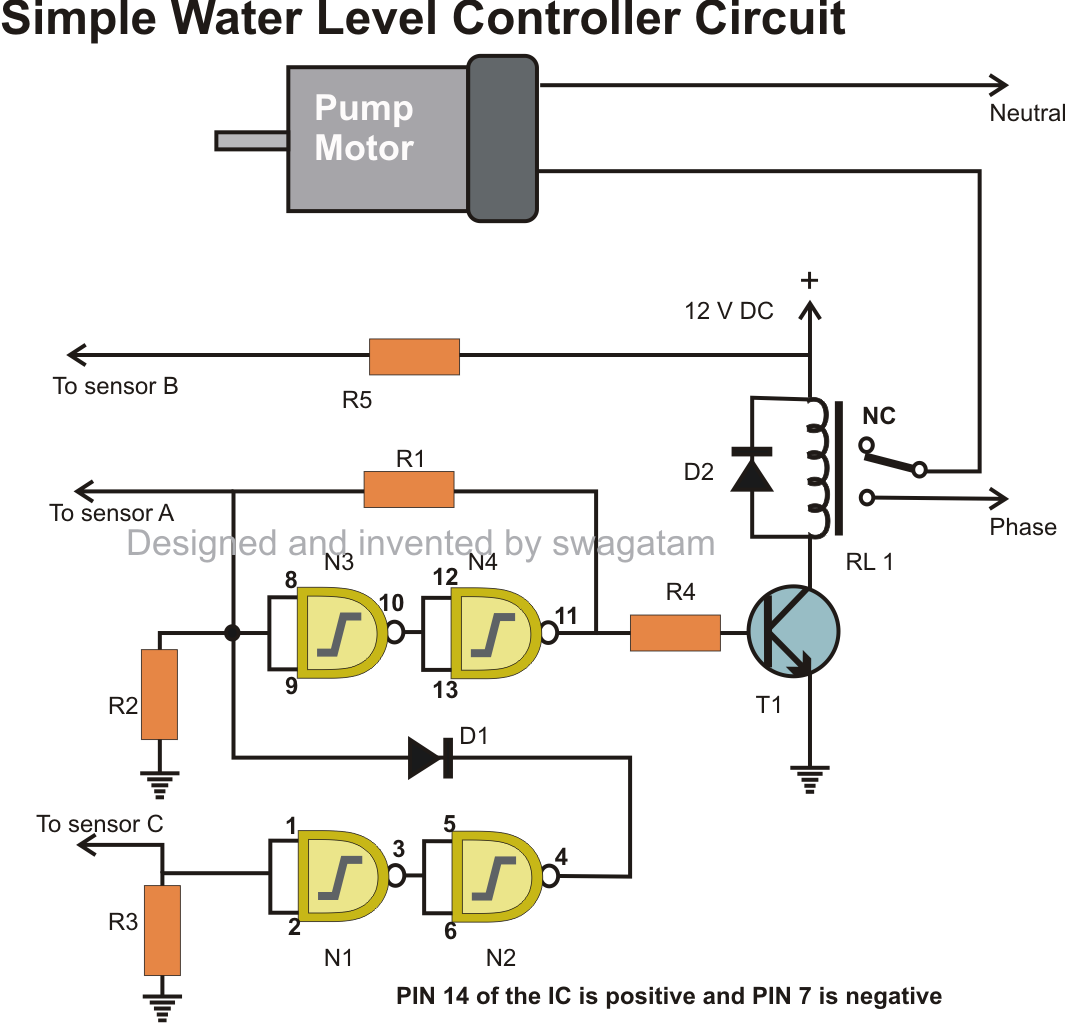 Simple Automatic Water Level Controller And Indicator