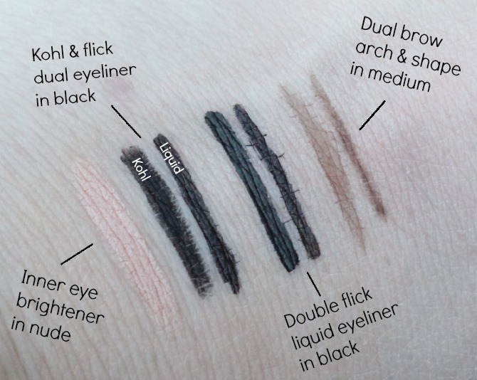 Makeup Revolution eyeliner swatches