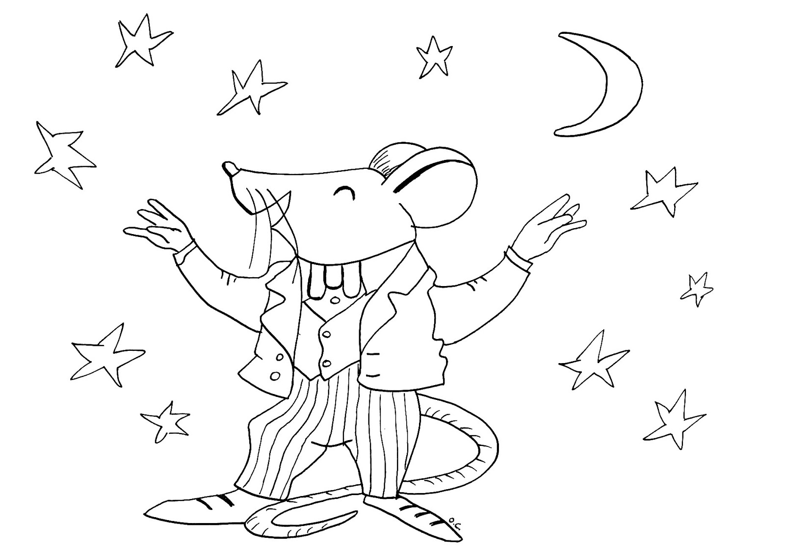 Tranh tô màu con chuột và ngôi sao