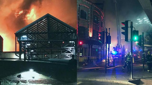 Incêndio atinge mercado em Londres