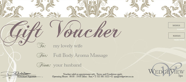 Spa Voucher for Valentines day gift