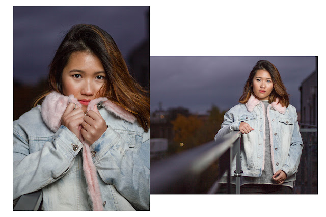 pink fur denim jacket missguided
