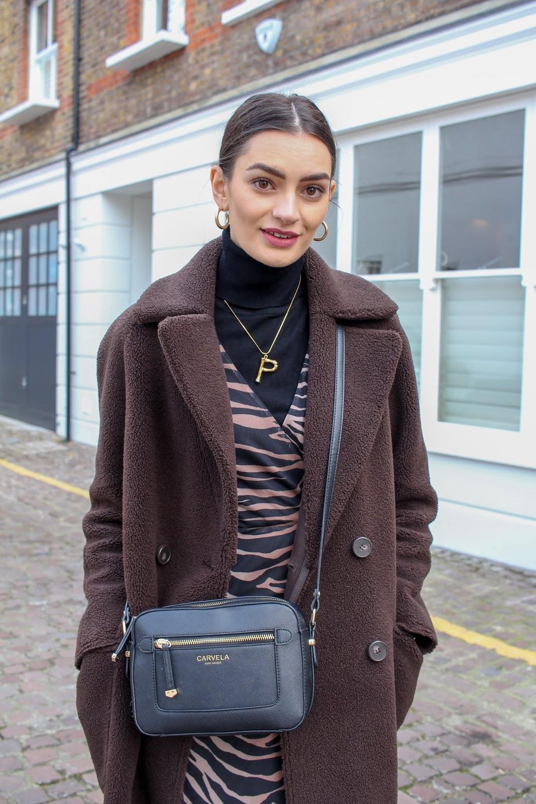 peexo styling tiger print dress day-to-night