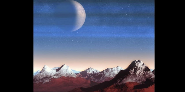 An artist's impression shows a view of the moon Charon through Pluto's atmospheric haze layers above the mountain landscape of bedrock water ice covered partially with deposition of dark, reddish haze particles. (Illustration by X. Liu)