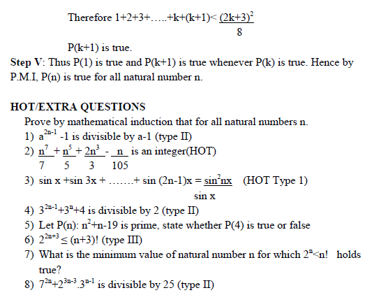 Principle of mathematical induction concept and HOT Questions