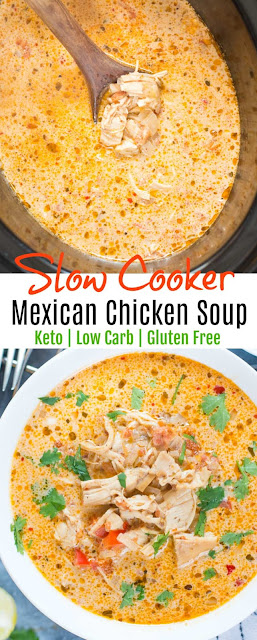 SLOW COOKER MEXICAN CHICKEN SOUP - KETO / LOW CARB