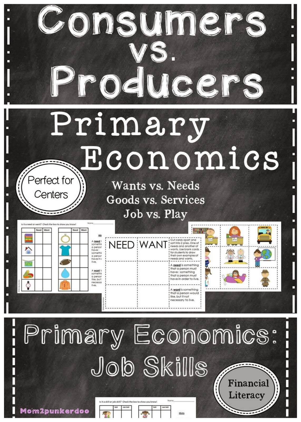 Interactive notebook and center activities to teach personal finance to K-2 students. Includes: goods and services, needs and wants, producers and consumers and more!