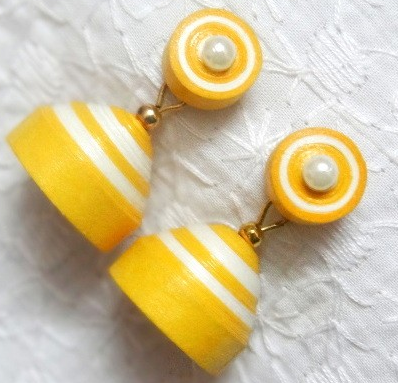 Yellow Trendy quilling paper jhumkas designs - quillingpaperdesigns