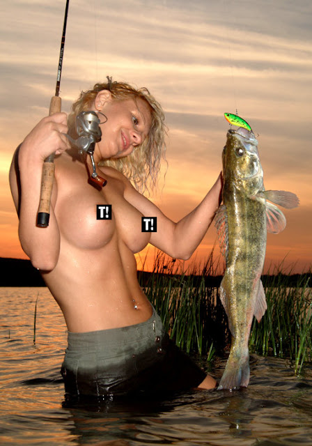Topless Woman Fishing Walleye Boob Breast