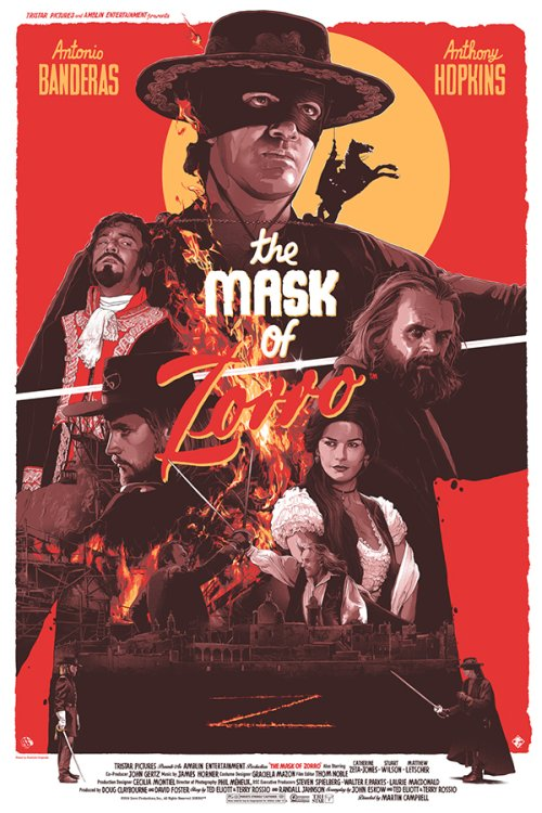 Grzegorz Domaradzki ilustrações cartazes pôsteres filmes arte cinema The Mask of Zorro (A Máscara do Zorro)
