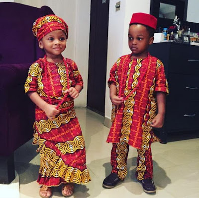 Pic: Checkout this adorable picture of Peter and Paul Okoye's kids in traditional attire  Checkout this adorable picture of Peter and Paul Okoye's kids in traditional attire