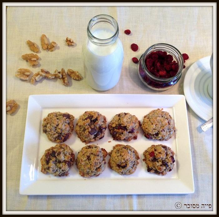 עוגיות קוואקר ופירות יבשים