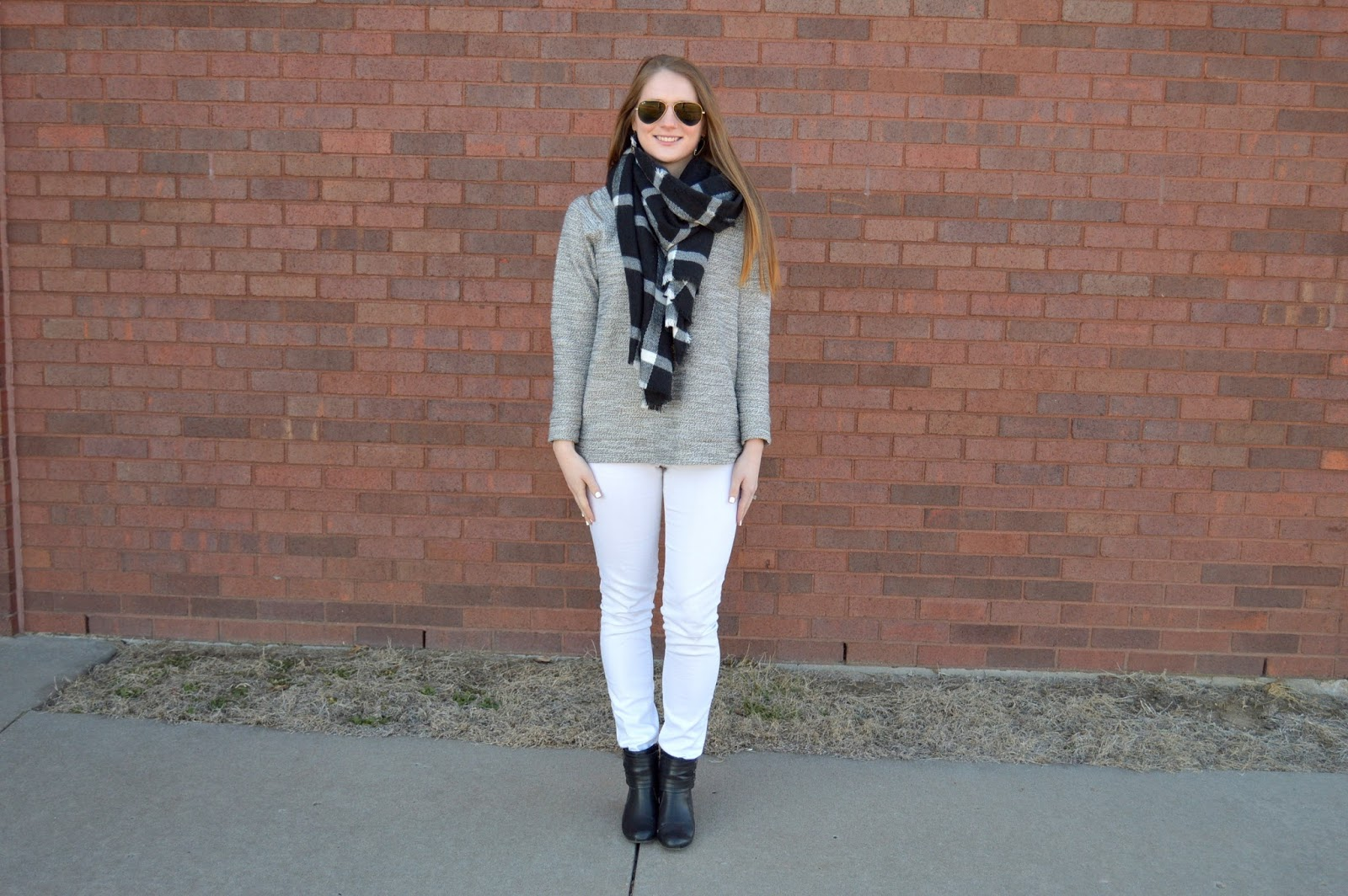 white and gray outfit