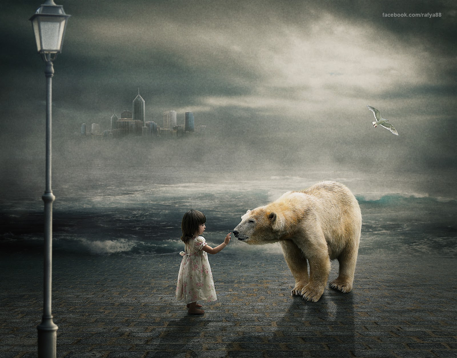 In This Photoshop Tutorial I Will Show You How To Make Child & White Bear  Photo Manipulationpositing We Will Create A Nice Background By Bining Sea