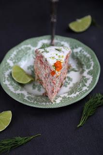 gâteau crêpes , saumon fumé , chandeleur , aneth