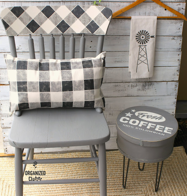 DIY Repurposed Cheese Box Becomes A Fun Side Table #repurposed #stencil #oldsignstencils #coffee #dixiebellepaint