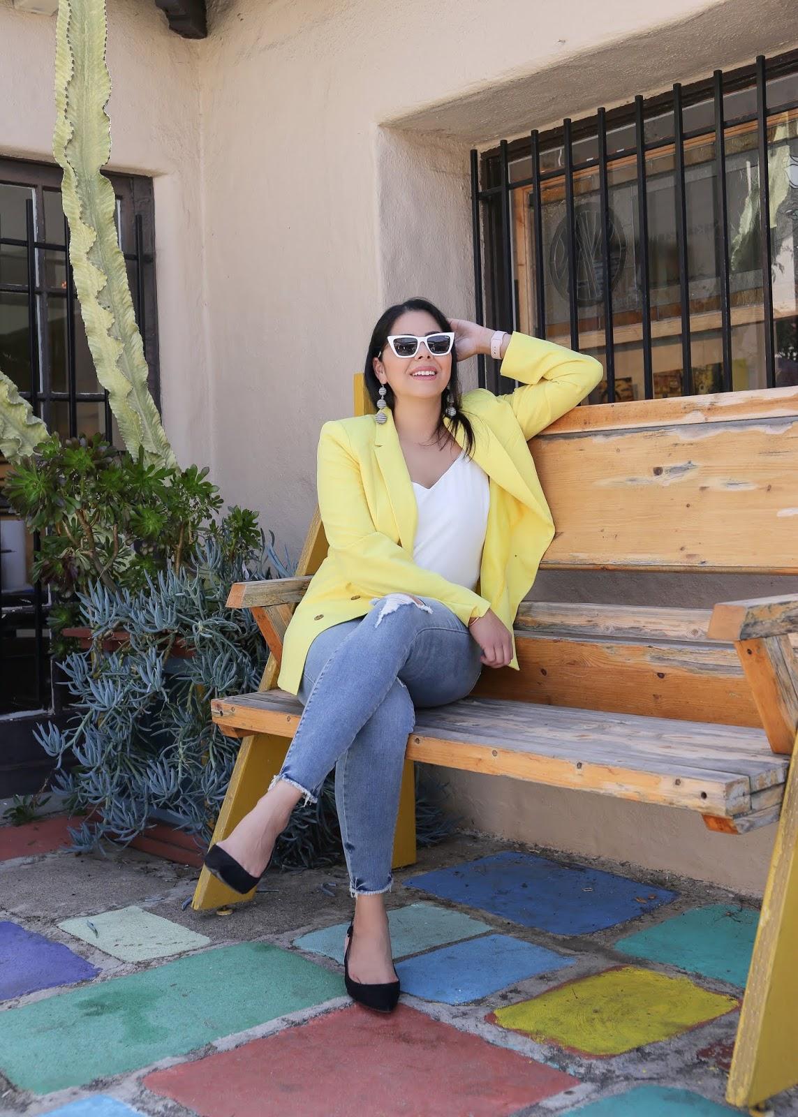 how to wear a yellow blazer, yellow blazer outfit idea