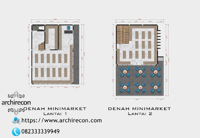 Desain Minimarket Bertema Pedesaan - Denah