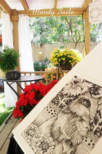 Mandy Saile, drawing, ink pen, garden