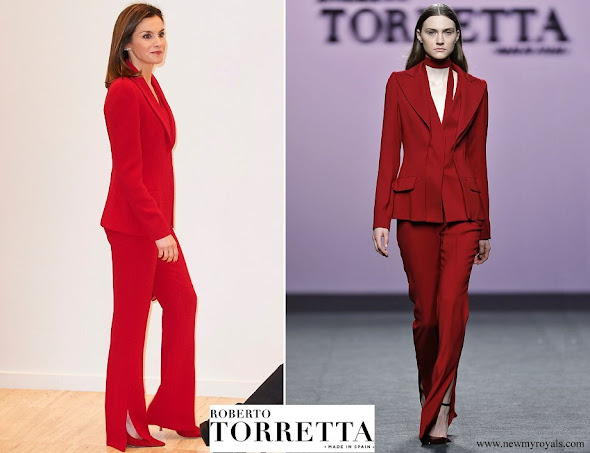Queen Letizia wore Roberto Torretta red suit from Fall Winter 2017 2018 collection