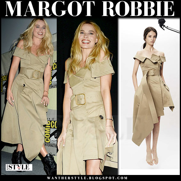 Margot Robbie in khaki off shoulder belted midi dress monse what she wore comic con 2016
