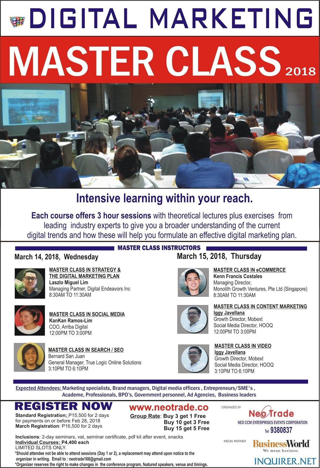 b32c0b6788ab Digital Marketing Master Class Philippines 2018