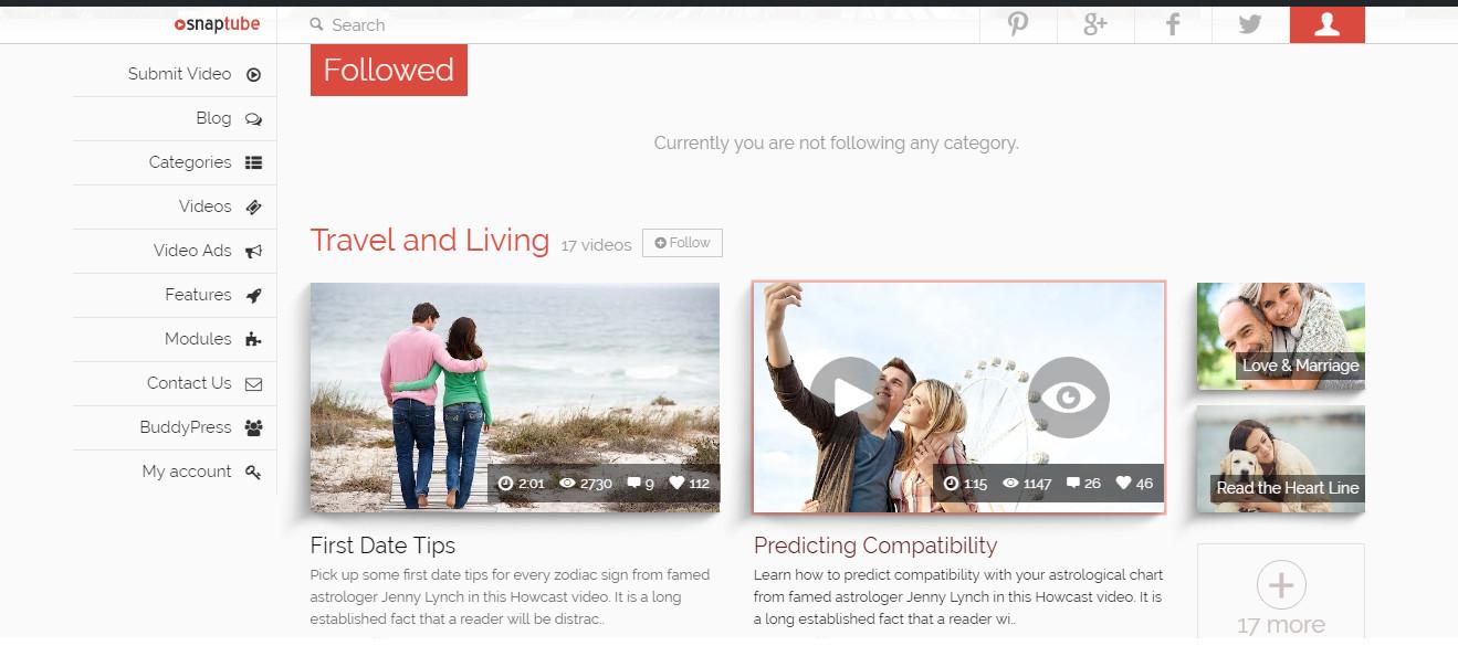 Snaptube-WordPress video Portfolio Theme