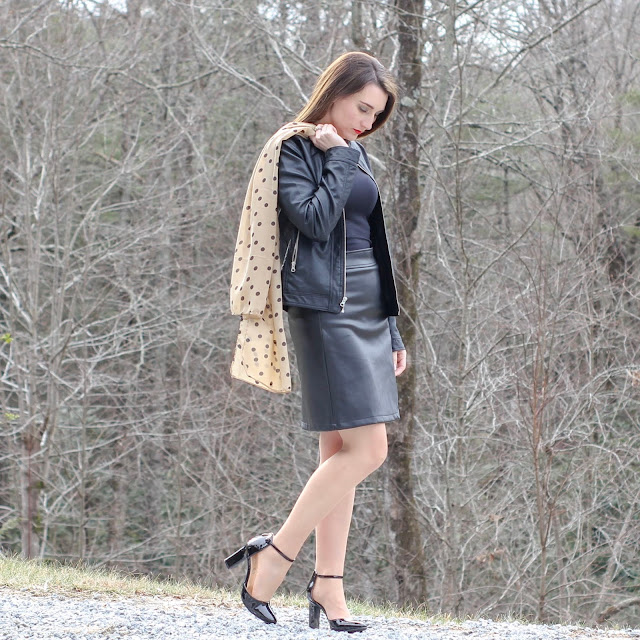 Faux Leather Skirt // Black Tank // Faux Leather Jacket // Polka Dot Scarf // Ankle Strap Heels
