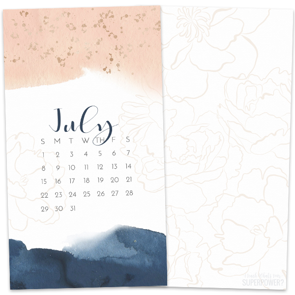 • July 2018 • Computer Desktop Calendar Background and matching iPhone Backgrounds