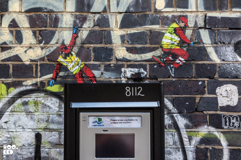 Belgian Street Artist Jaune stencil work on Brick Lane, London
