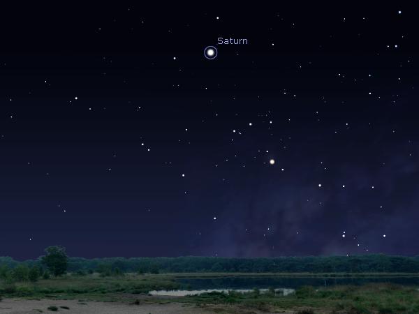 Simulasi Saturnus di langit timur Indonesia pada 11 Mei 2014 pukul 20:00 waktu setempat. Kredit Stellarium.