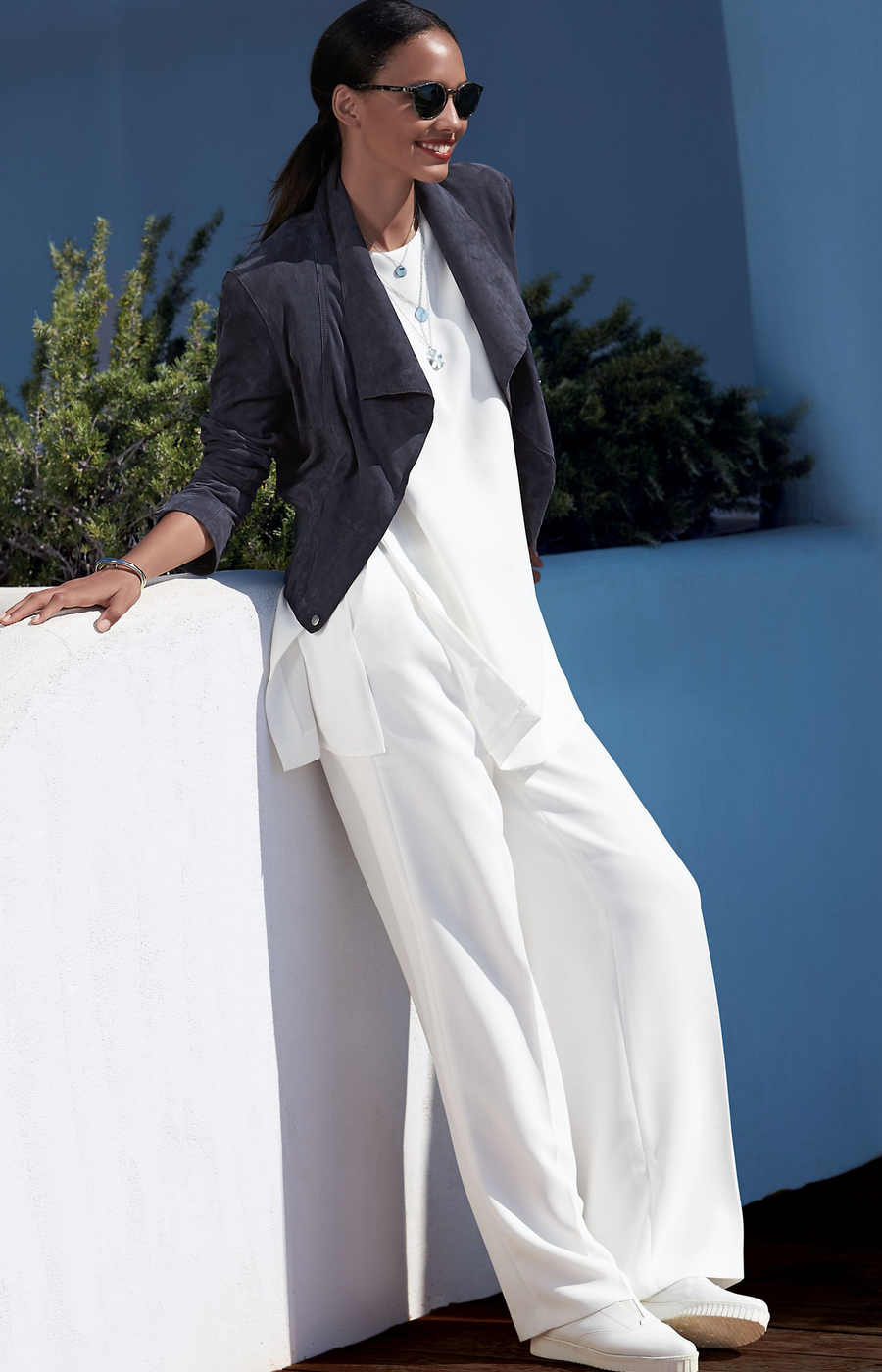 MADELEINE WHITE LONG TOP AND TROUSERS