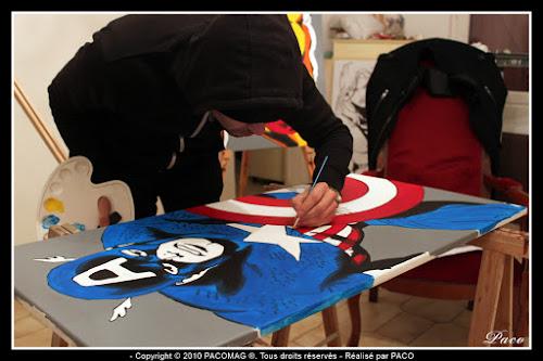 travail de mise en couleur sur la toile du Captain América Par Paco illustrateur graphiste, artiste peintre