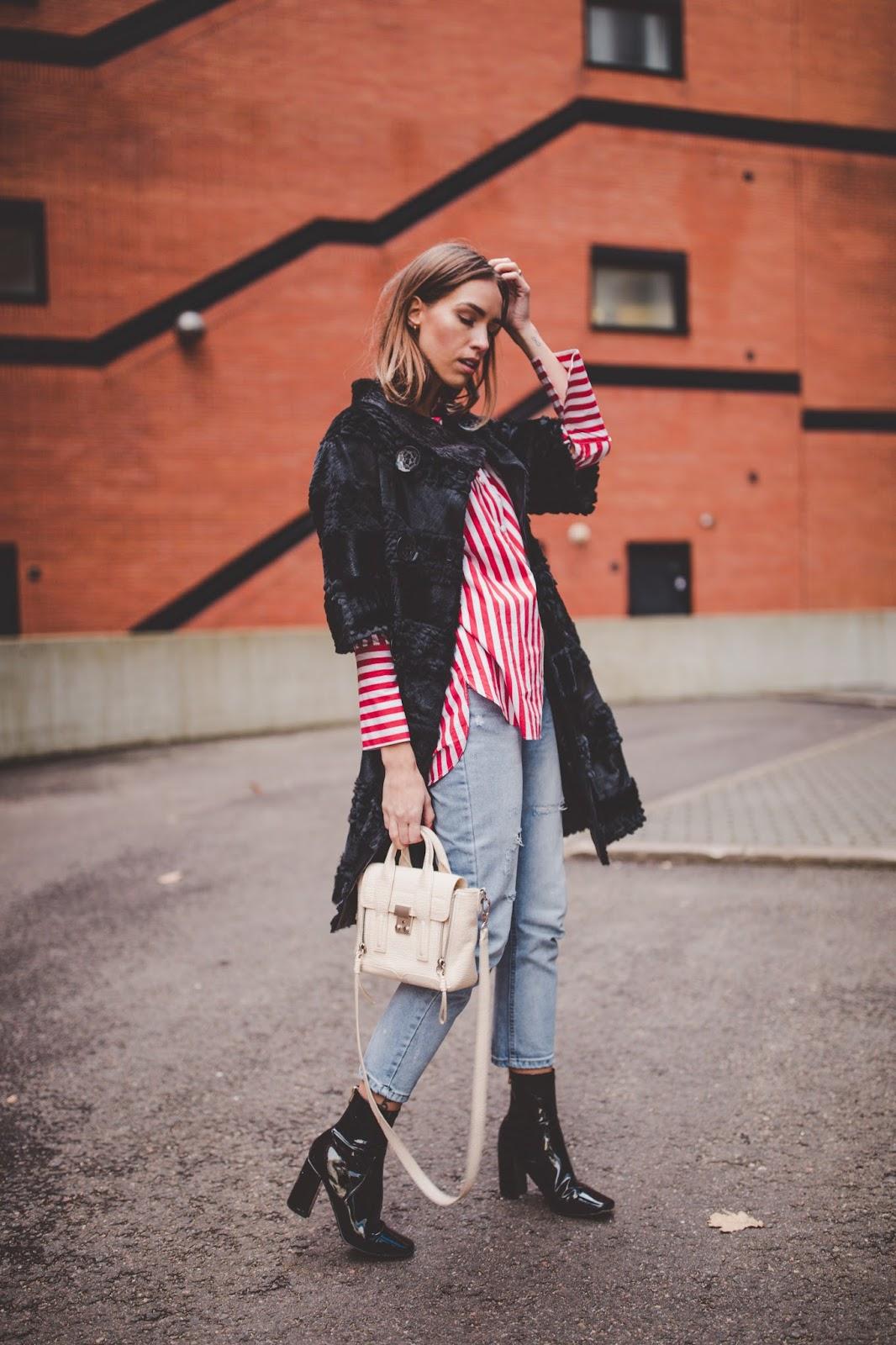 black fur coat red stripe shirt outfit fall